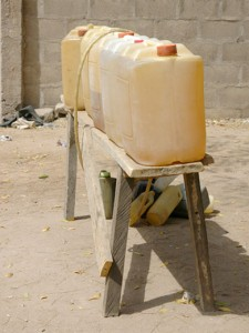 Typical Nigerian roadside diesel fuel sales stand.